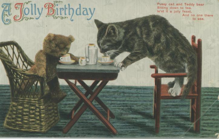 Birthday Cat & Teddy Bear