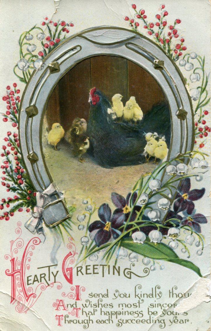 Hen & Chicks in Horseshoe Frame